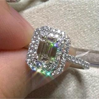 天然 ダイヤモンド エメラルドカット 1ctUP PTリング(リング(指輪))