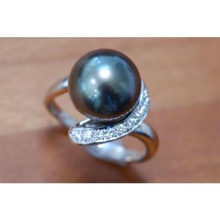 タサキ(TASAKI)のタサキ Pt900 黒蝶真珠 10.9㎜ ダイヤモンド リング 0.09ct (リング(指輪))