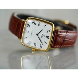 オメガ(OMEGA)の美品 オメガ ジュネーブ スクエア ゴールド ローマン 手巻き メンズ(腕時計(アナログ))