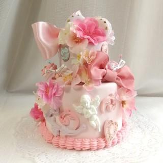 サクラマカロン2段ケーキ リングピローにも(リングピロー)