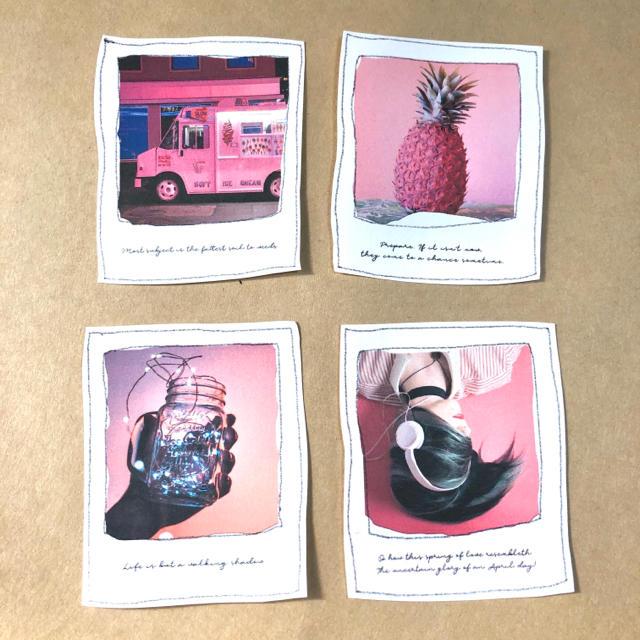 ポラロイド風フレークシール pink world ハンドメイドの文具/ステーショナリー(しおり/ステッカー)の商品写真