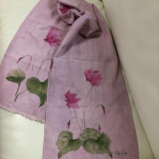 ハンドメイド 綿 手描きスカーフ シクラメン(スカーフ)