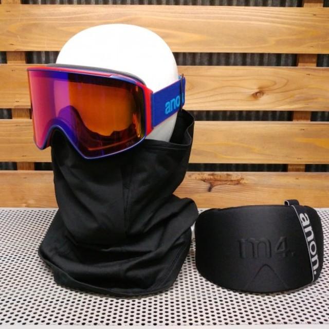 anonアノン【M4 CYLIND.】青/赤 スペアレンズ・フェイスマスク付き スポーツ/アウトドアのスノーボード(アクセサリー)の商品写真
