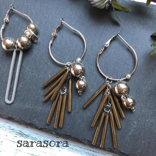 433 silver ball×stick tassel earrings(ピアス)