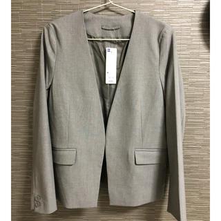 ジーユー(GU)のGU ジャケット 2着 新品未使用ノーカラーグレー&美品黒ジャケット(ノーカラージャケット)