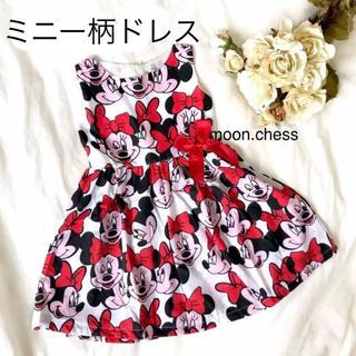 Disney - 【新品】ベビー キッズ ミニー 柄 リボン ワンピース ドレス 110
