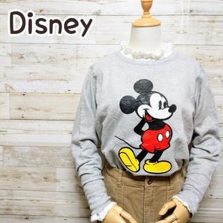 ディズニー(Disney)のディズニー Disney ヘインズ ミッキー 杢グレー トレーナー(スウェット)