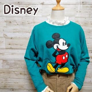 ディズニー(Disney)のディズニー Disney ヘインズ ミッキー ターコイズブルー トレーナー(スウェット)