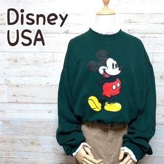 ディズニー(Disney)のディズニー ミッキー USA製 ビッグシルエット グリーン系 トレーナー(スウェット)