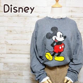 ディズニー(Disney)のディズニー Disney ミッキー グレー ビッグシルエット トレーナー(スウェット)