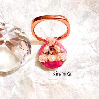 ピンクローズとパールのシャンパンピンクのスマホリング★(iPhoneケース)