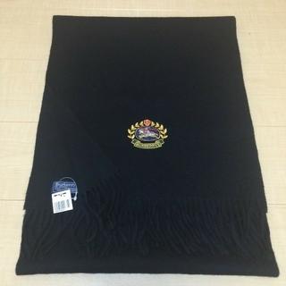 バーバリー(BURBERRY)の新品レア エンブレム刺繍 黒 ロングマフラー ストール バーバリー(ストール/パシュミナ)