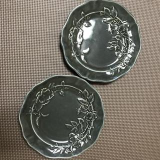 よしざわ窯   アッシュグレー西洋絵皿   2枚セット(陶芸)