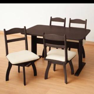 ニトリ(ニトリ)の[引取限定]ニトリ ダイニングテーブルセット 4人用 回転椅子 ダークブラウン(ダイニングテーブル)