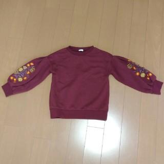 ジーユー(GU)のGU GIRLS 袖刺繍トップス130(Tシャツ/カットソー)