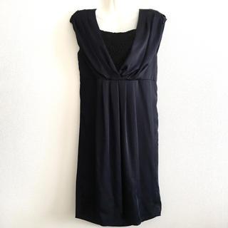 ザラ(ZARA)のネイビー  ドレス  ワンピース(ミディアムドレス)