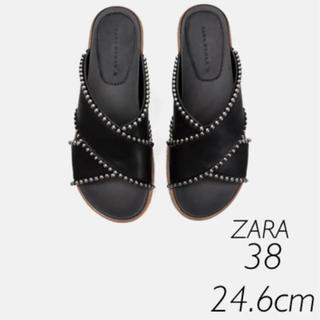 ZARA - 【新品・未使用】ZARA  ビーズ付き サンダル 38