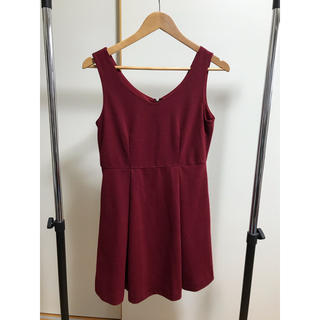 ジーユー(GU)のパーティ ドレス 赤(ミディアムドレス)