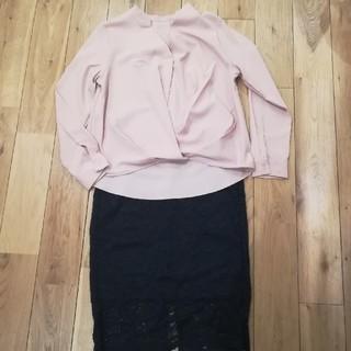 ジーユー(GU)のGU 上下セット タックブラウスレースタイトスカート 今期(セット/コーデ)