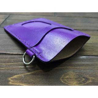 本革製窓付きパスケース縦型【紫】(キーケース/名刺入れ)