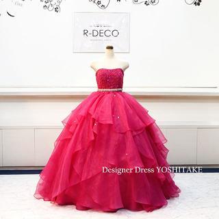 ウエディングドレス(Aラインパニエ無料) ワインオーガンジードレス 披露宴/二次(ウェディングドレス)