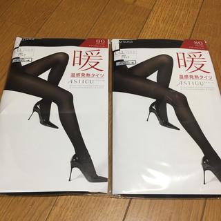 アツギ(Atsugi)のL  アツギ ブラックタイツ 80デニール 暖(タイツ/ストッキング)