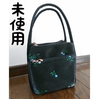 ザラ(ZARA)の未使用 花柄刺繍 シルク調スクエアハンドバッグ 黒 条件値引き有(ハンドバッグ)