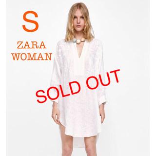 ザラ(ZARA)の新品未使用 ZARA woman ジャガード 刺繍 チュニック ワンピース  S(チュニック)