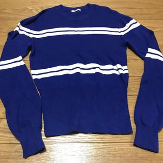 ジーユー(GU)のジーユー GU ニット セーター ボーダー ウエスト絞り 丸首 ブルー 青 M(ニット/セーター)