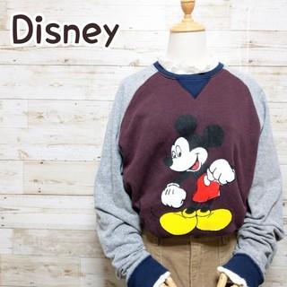 ディズニー(Disney)のディズニー Disney ミッキー ラグラン ビッグシルエット トレーナー(スウェット)