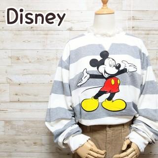 ディズニー(Disney)のディズニー Disney ミッキー 太ボーダー ビッグシルエット トレーナー(スウェット)