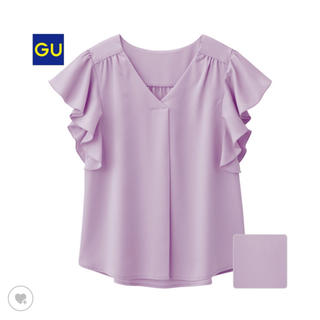 ジーユー(GU)のタグ付未着用★GU★フリルスリーブブラウス(シャツ/ブラウス(半袖/袖なし))