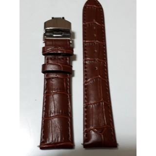 1本のみ【新品・未使用】バックル型ラグ幅20mm茶色牛革ベルトクロコダイル型押し(レザーベルト)