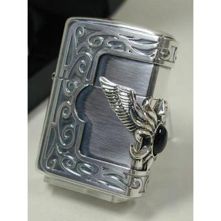 ジッポー(ZIPPO)のZippo 黒オニキス・ストーンシルバー 3面 サイドウィング 銀 メタル(タバコグッズ)