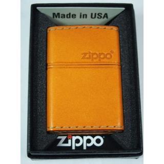 ジッポー(ZIPPO)のZippo 革巻き ジッポーロゴ(キャメル 薄茶)LB-5 プレーン(タバコグッズ)