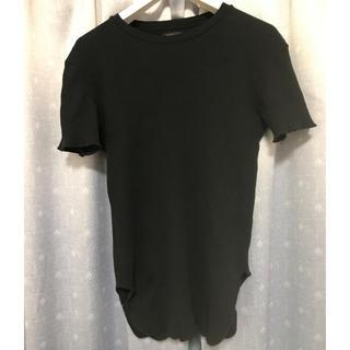 ザラ(ZARA)の送料込み 1回着 ZARA Tシャツ ロング M 黒 ブラック(Tシャツ/カットソー(半袖/袖なし))