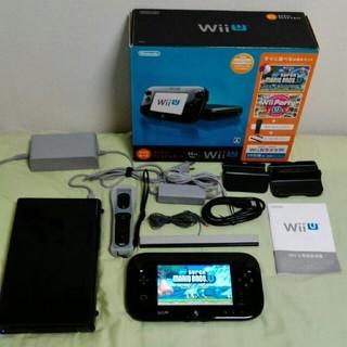 ウィーユー(Wii U)の任天堂wiiu すぐに遊べるプレミアムセット黒 コントローラー付 正常動作確認済(家庭用ゲーム本体)