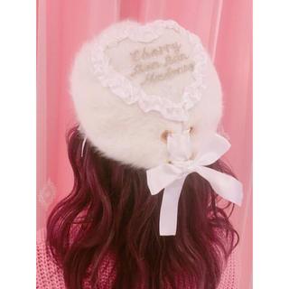 スワンキス(Swankiss)のswankiss ♡ cherry bonbon ベレー帽 ♡ ホワイト(ハンチング/ベレー帽)