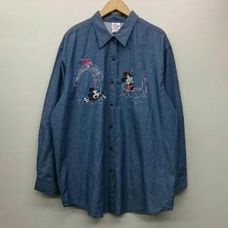 ディズニー(Disney)のミッキー ミニー ディズニー 刺繍 レディース 長袖シャツ XL デッドストック(シャツ/ブラウス(長袖/七分))