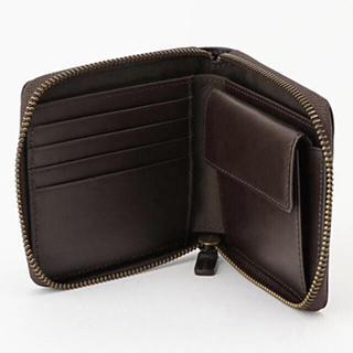 ムジルシリョウヒン(MUJI (無印良品))の【新品】MUJI イタリア産ヌメ革ラウンドファスナー二つ折り財布  さ(財布)