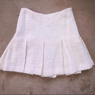ルシェルブルー(LE CIEL BLEU)の新品未使用 ルシェルブルー  ツイードボックスプリーツ スカート ホワイト(ひざ丈スカート)