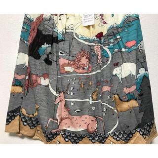 ツモリチサト(TSUMORI CHISATO)のツモリチサト 新品 ユートピア ウエスト ゴム フレアー スカート 新品貴重(ひざ丈スカート)