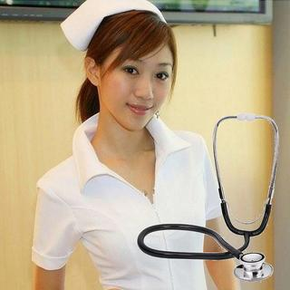 コスプレ 看護婦 ナース 衣装 + 聴診器 セット (白) //BBW(衣装一式)