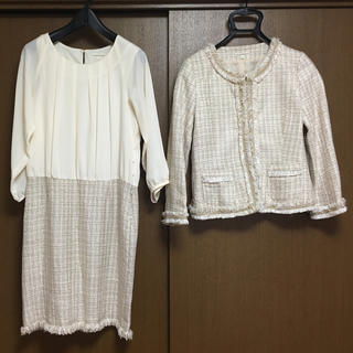 サンカンシオン(3can4on)の卒入学用 セットアップ ママ用 9号 ホワイト(スーツ)