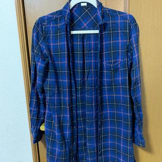 ジーユー(GU)のチェックシャツ シャツワンピ GU ブルー カジュアル(その他)
