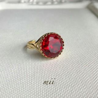 vintageガラスリング レッド(リング(指輪))