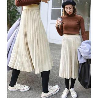 セレクト(SELECT)のselect MOCA ウエストゴム入り プリーツ デザイン ニットスカート(ロングスカート)