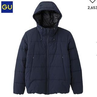 ジーユー(GU)の【美品】中綿ブルゾン ダウンジャケット GU ジーユー ネイビー(ダウンジャケット)