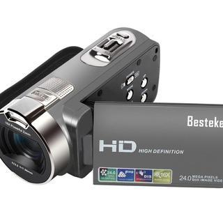 【新品★人気】デジタルビデオカメラ2400万画素 16倍ズーム グレー(ビデオカメラ)