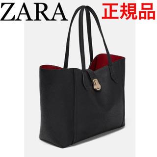 ザラ(ZARA)のメタルクラスプ留め トートバッグ ゴールド メタル金具 ブラック ZARA(トートバッグ)